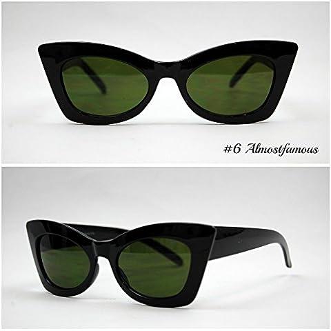 Rock Occhi di gatto nero VTG 50s/60s da donna, stile occhi di gatto occhiali da sole occhiali retrò Rockabilly Vintage Mondo Eye Wear