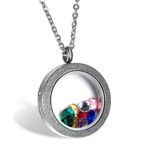 Edelstahl Damen Anhänger Farbe Silber , OIDEA Floating Charms Medaillon Living Memory Locket Anhänger Halskette Halsband 45cm (Living Memory Medaillon)