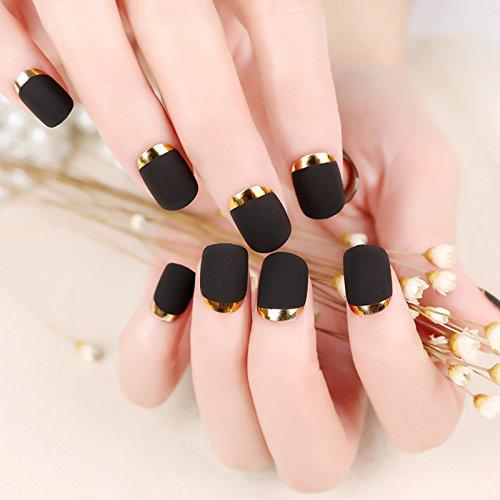 YUNAI 24pcs / Faux Ongles Faux fix¨¦s Nail Design Jolie Nail Designs noir mat avec Faux Ongles Or