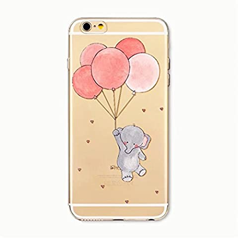 KSHOP Cover for iphone SE/5/5S TPU Gel portable Case Clear Ultra Thin Silicon flexible Transparent Rubber Back shell Shock-resistance protective skin for iPhone SE iPhone 5 iPhone 5S--Pink balloons and