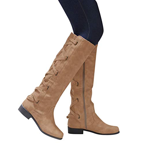 OSYARD Damen Leder Flache Langschaftstiefel Schnürstiefelett Seitlicher Reißverschluss Boots, Schuhe Schnalle Roman Riding Kniehohe Cowboystiefel Lange Stiefel