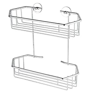 Nie Wieder Bohren BT240P Baath Plus Double Basket Shelf for Shower with Never Drill Again Special Attachment Technique - Chrome-Plated