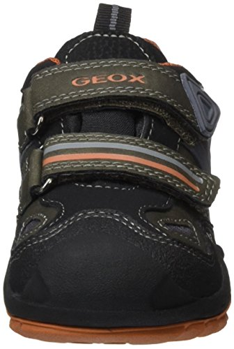 Geox J New Savage Boy B Abx D, Baskets Garçon Schwarz (Black/Dk ORANGEC9279)