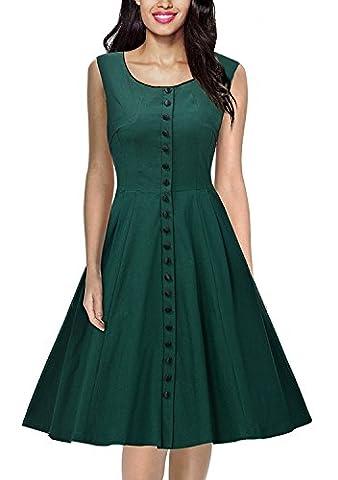Damen Vintage 1950er Stil ärmellose Tasten A-Linie Kleid Grün L