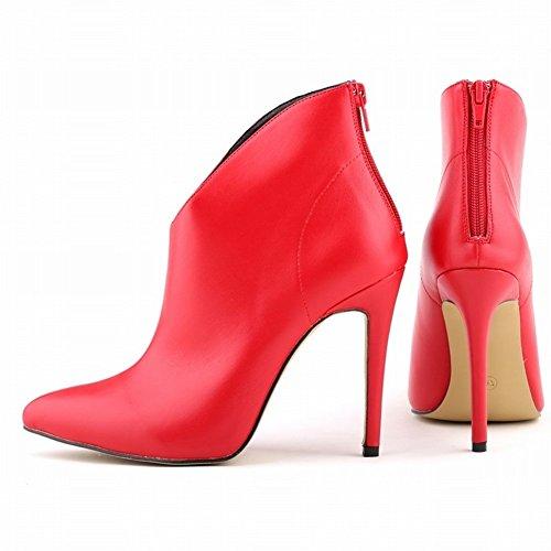 HooH Femmes Sexy Matte Pointu Stiletto Escarpins Bottines Rouge