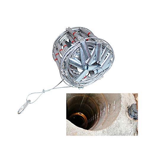 FIREDUXYL Faltbare Fluchtleiter aus Aluminium, tragbar Aluminiumlegierter Stahldraht Leiter mit Haken, für Notausgang-Technik-Aufbau,10m