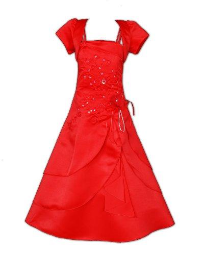 Cinda Mädchen Brautjungfer / Heilige Kommunion Kleid Rot 110-116