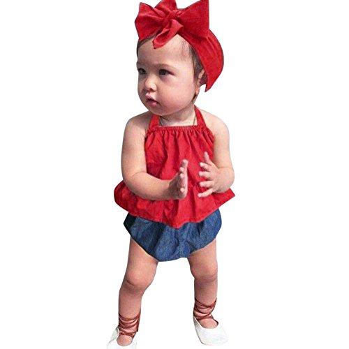 ode Frühling Sommer Mädchen﹛3M-3T﹜Kinder Ärmellose﹛Einfarbig Riemen﹜Top Shorts + Haarband Trio Party Top Outfits Kleider (rot, 12M=80) (Tolle Kostüme Trio)