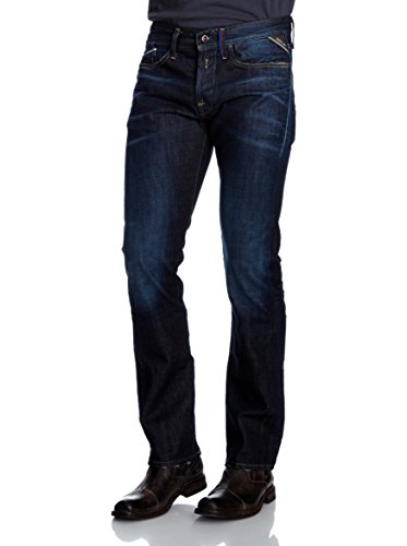 Replay Herren Straight Leg Jeanshose Waitom FC Barcelona Collection Blau