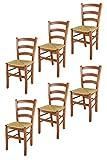 Tommychairs 6er Set Stühle Venice für Küche und Esszimmer, robuste Struktur aus lackiertem Buchenholz im Farbton Kirschbaum und Sitzfläche aus Stroh. Set bestehend aus 6 Stühlen Venice