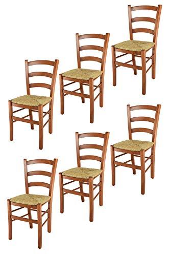 Tommychairs 6er Set Stühle Venice für Küche und Esszimmer, robuste Struktur aus lackiertem Buchenholz im Farbton Kirschbaum und Sitzfläche aus Stroh. Set bestehend aus 6 Stühlen Venice (Stühle Esszimmer Kirschbaum)