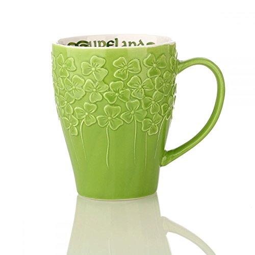 Eburya Irisch Shamrock Mug - Kaffeebecher mit irischen Kleeblättern - Hellgrün