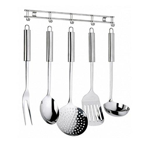 Set 6 pezzi cucchiaione forchettone schiumarola mestolo pala appendino professionale Ellisse Pintinox in acciaio inox 18/10