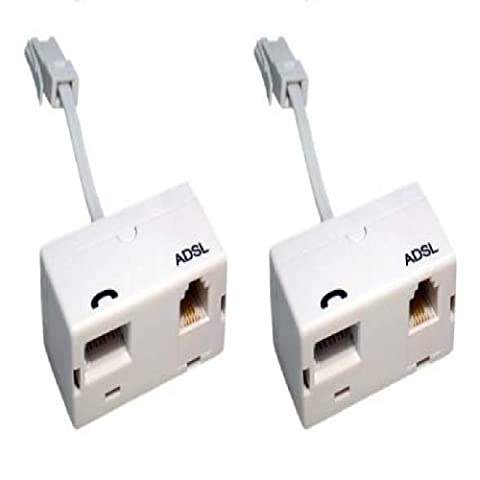2 x ADSL Microfilter with Tail (Twin Pack) - Premium Quality / BT Approved / Broadband & Phone Socket / Male to Female / Adapter /