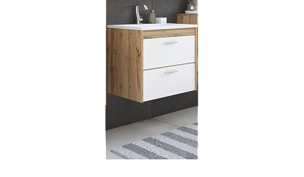 naka24 Badm/öbel Set Ibiza 60 mit Waschbecken Keramik Eiche VOTAN//Weiss Hochglanz LED Waschbecken Waschbeckenunterschrank