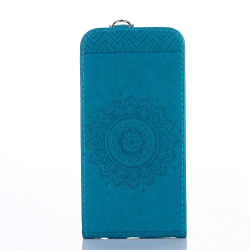 Cover iphone 6 plus/6s plus Hülle,Fodlon® Totem Geprägt Up-Down öffnen PU-Leder Flip Stand mit Schwarz Lanyard Hülle Abdeckung zum iphone 6 plus / 6s plus-Light Purple blau