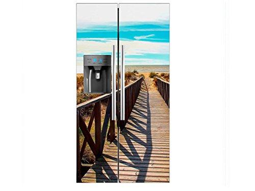 Vinilo Frigorífico Americano Puente Madera Playa | 90X180cm | Varias Medidas |...
