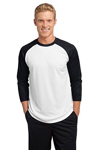 Sport Tek Baseball-Trikot PosiCharge Gr. M, weiß / schwarz (Colorblock Raglan-jersey-shirt)