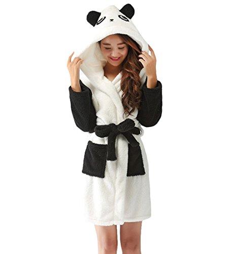 ex-Weiche Fleece-Cartoon-Bademäntel mit Kapuze Nachtwäsche Bademäntel Housecoat Kleider mit Gürtel Panda Klein (Paare Cartoon Kostüme)