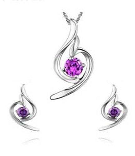findout esterlina de plata diamante acento suave amatista ángel Conjunto Pendientes y colgante, collar