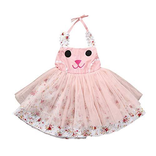Kinder Kostüm Aztekische - WUSIKY Sommerkleid Baby Mädchen Kinder Cartoon Kaninchen Kleid Kleidung Kleinkind Prinzessin Kleider Mini Rock Tutu Hoop Rock Tüll Unterrock Kinder Geschenk 2019 Kleid(80,Rosa)