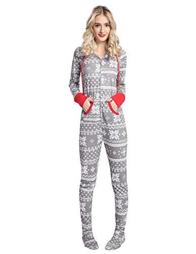 2ec6495f62 AMONIDA Pyjama Combinaison Noël Chemise pour Femmes Onesie Pyjama à  Capuchon S-2XL