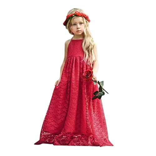 Princess Dress,OSYARD Child Kid Girls Lace Flower Backless Strap Princess Party Formal Dress Clothes