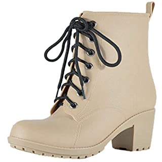 Women's Ankle Boots Classical Waterproof Fashion Lace Up Leisure Round Head Martin Boots