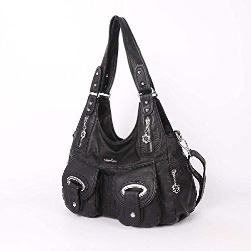 21K 2 chiusure con cerniera chiusura di borse multifunzione tasche borse in lana lavate borse a tracolla J1067 nero