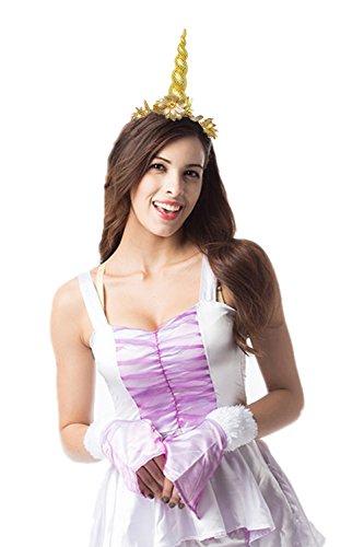 JeVenis Rainbow Unicorn Stirnband Fellohren Einhorn Kostüm Festival Party Hüte - Einhorn Kostüm Hut