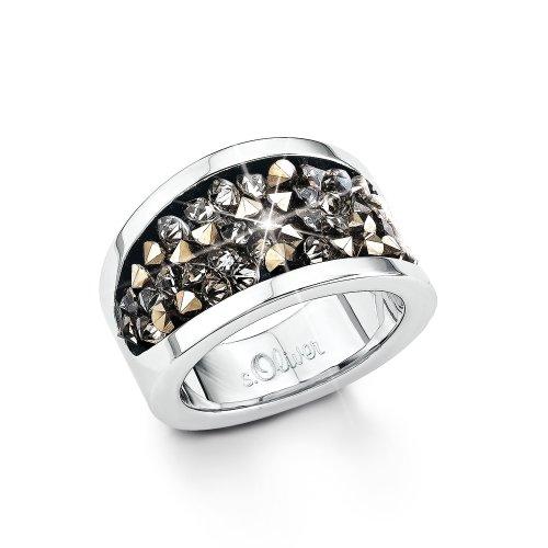 S. Oliver Damen-Ring Edelstahl Kristall schwarz Gr. 52 (16.6) - 440363