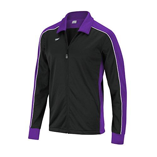 Speedo Erwachsene Streamline Warm Up Jacket Badeanzug, schwarz/violett, (Speedo Badeanzug Verkauf)
