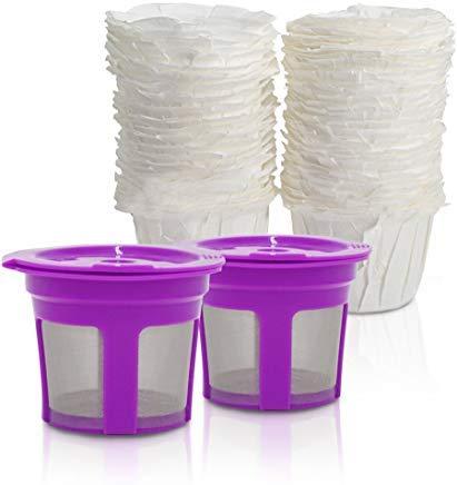 brbhom Einweg K Cup Papier Filter 50und 2Stück nachfüllbar K Cup wiederverwendbaren Coffee Filter für Keurig 2.01.0 - Filter Keurig Karaffe