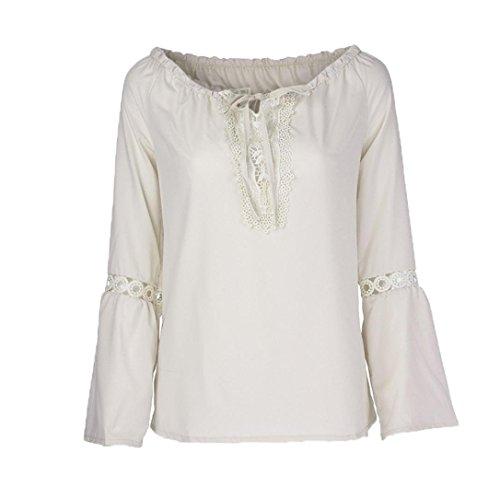 Xmiral Frauen Slash Neck Lange Ärmel Reine Farbe Spitze Splicing Tops Plus Size Bluse (XL,Beige) -
