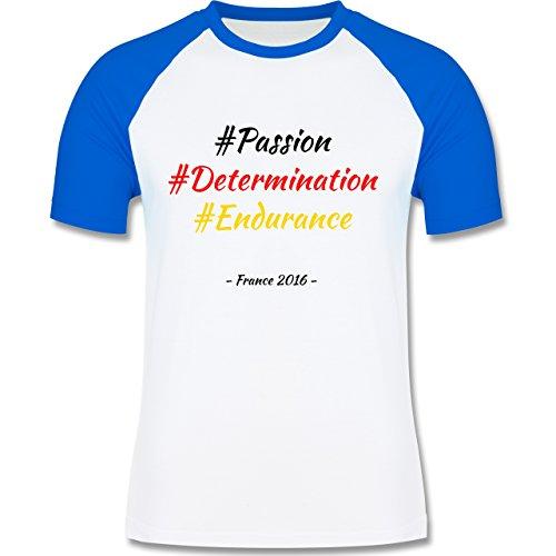 Fußball EM 2016 - EM 2016 Deutschland - L140 - Raglan Männer Herren T-Shirt mit Kontrastärmeln und Rundhalsausschnitt Weiß/Royalblau