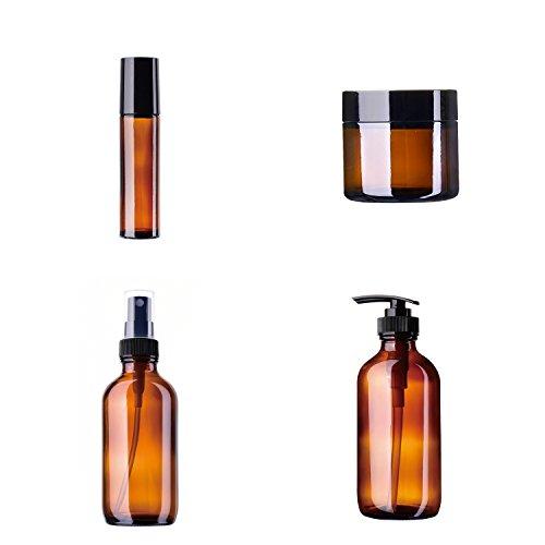 Preisvergleich Produktbild Blanketswarm 4 Stücke Reise Bernstein Braun Glas Sprühen Flasche Kits Nebel Spray Emulsion Auge und Gesicht Creme Nachfüllbarer Behälter