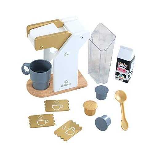 KidKraft - Kit de juguetes de madera para hacer café para cocina de juguete (accesorio para cocinas de juguete), Metálico (53538)