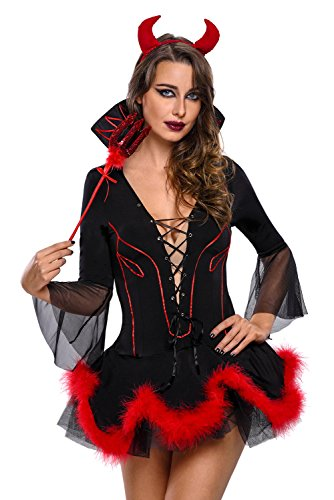 Toocool - Costume donna DIAVOLO diavoletta devil miniabito carnevale Halloween DL-1792