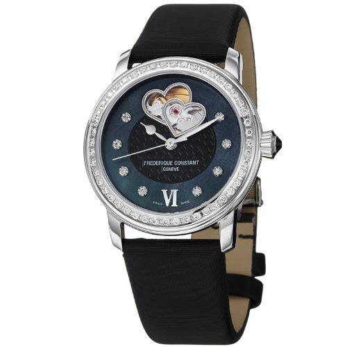 Frederique Constant Women's Satin Band Steel Case Automatic Black Dial Analog Watch 310BDHB2PD6