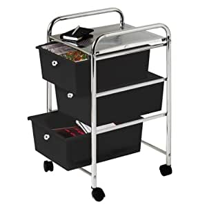 Premier Housewares 3 Drawer Storage Trolley with Chrome Frame, 65 x 39 x 33 cm, Black