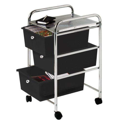 Premier Housewares - Carrito para almacenaje (3 cajones, bastidor de cromo, 65 x 39 x 33 cm), color negro