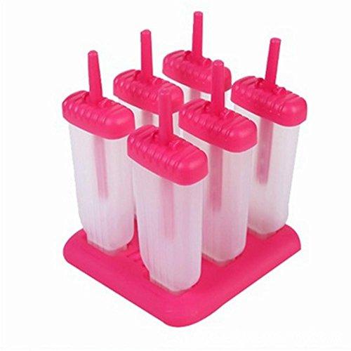 TP MALL DIY-Kit Popsicle Formen BPA Frei Eiscreme Pop Lolly Maker 6 für Hühnchen Sommer (Rose) - Frei Tp-kit