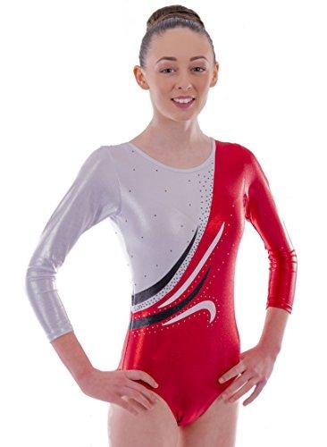 c Rubinrot und Weiß mit Welle verkrustet Diamante Detail Sleeve Gymnastik Trikot (12-13 Jahre) (Welle Kostüm)