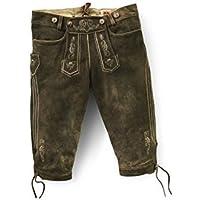 Legato al ginocchio Pantaloni folcloristici in cuoio Florian Marrone uomo