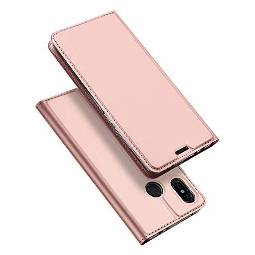 DUX DUCIS Funda Xiaomi Redmi Note 6 Pro,Flip Folio Cover,Soporte Plegable,1 Ranuras para Tarjetas,Magnético,Ultra-Delgado Carcasa para Xiaomi Redmi Note 6 Pro (Rosa Dorada)