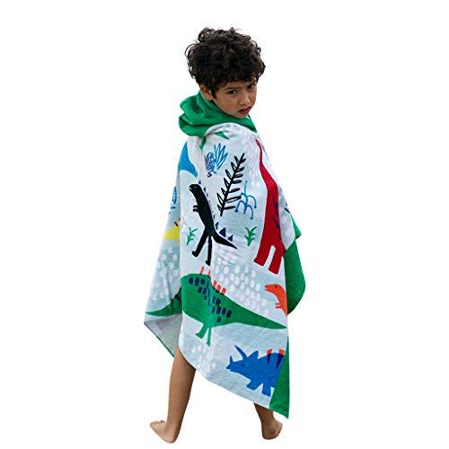 Likecrazy Badehandtuch fur Kinder baby Cartoon Schwimmen Badetuch verdicken weichen Mantel mit Kapuze 100% Baumwolle Bademäntel Strandtuch für Jungen und Mädchen(Blau1,one size)