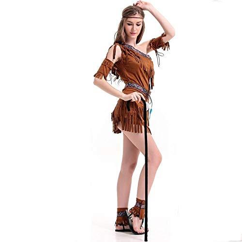 Shisky Cosplay kostüm Damen, Halloween-Kostüm Primitive eingeborene Kleid Fransen Stammes-Prinzessin Kleid Kostüm