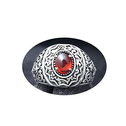 Beydodo anello mignolo regolabile argento 925 misura 17 vintage filigrana regolabile anello rosso pietra ovale anello gotico uomo