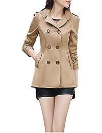 Blansdi 2017 Femme Manteau Trench Double Boutonnage Col Droit Trench coat  veste printemps et d automne léger mince manches longues pour… 148f02f1d61