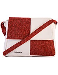 Veuza Venice Premium Jacquard And Faux Leather Garnet Red Sling Bag